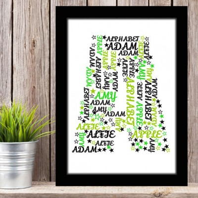 Alphabet Letter A Personalised WordArt Gift