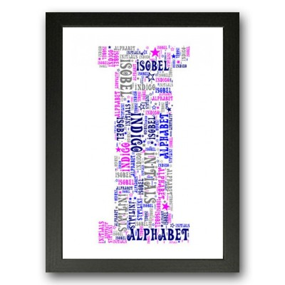 Alphabet Letter I Personalised WordArt Gift