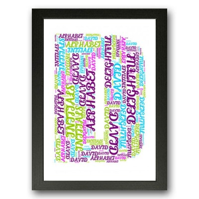 Alphabet Letter D Personalised WordArt Gift