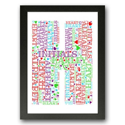 Alphabet Letter H Personalised WordArt Gift
