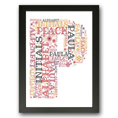 Alphabet Letter P Personalised WordArt Gift