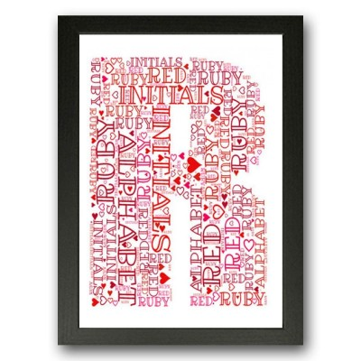 Alphabet Letter R Personalised WordArt Gift