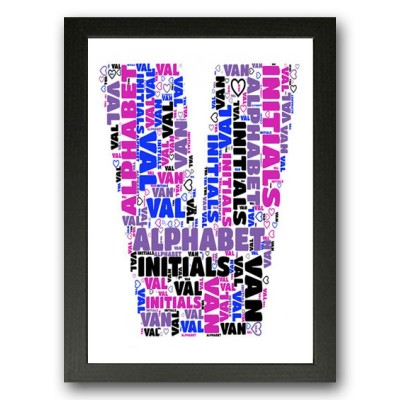 Alphabet Letter V Personalised WordArt Gift