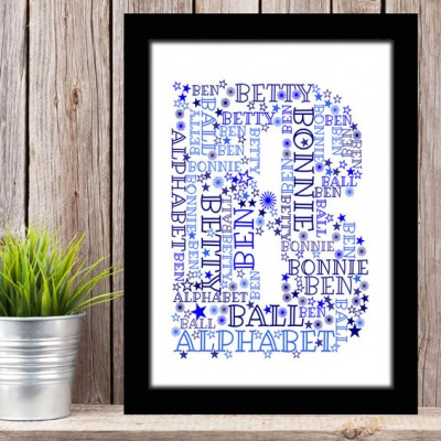 Alphabet Letter B Personalised WordArt Gift