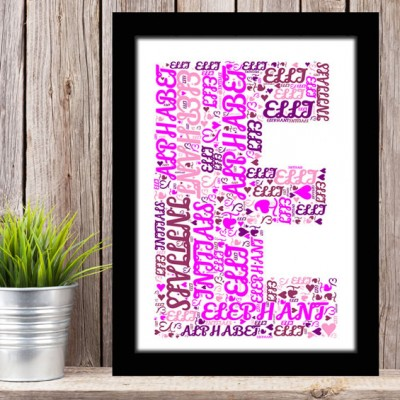 Alphabet Letter E Personalised WordArt Gift