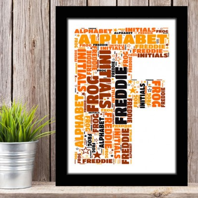 Alphabet Letter F Personalised WordArt Gift