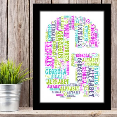 Alphabet Letter G Personalised WordArt Gift