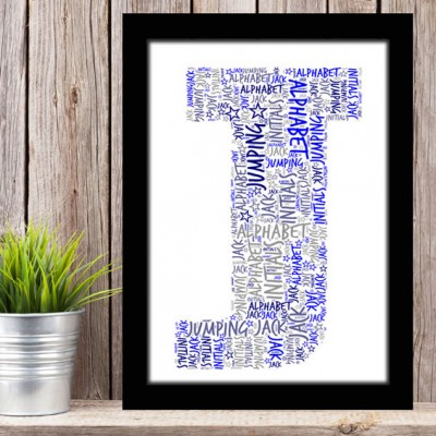 Alphabet Letter J Personalised WordArt Gift