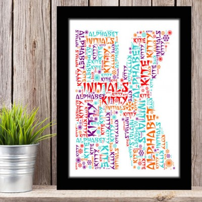 Alphabet Letter K Personalised WordArt Gift