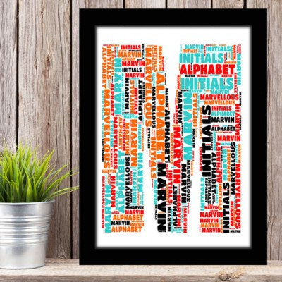 Alphabet Letter M Personalised WordArt Gift