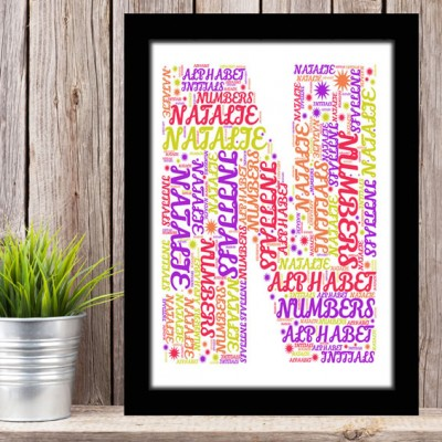 Alphabet Letter N Personalised WordArt Gift