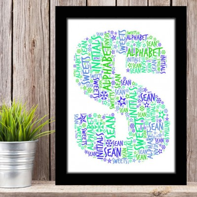 Alphabet Letter S Personalised WordArt Gift