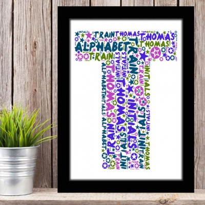 Alphabet Letter T Personalised WordArt Gift