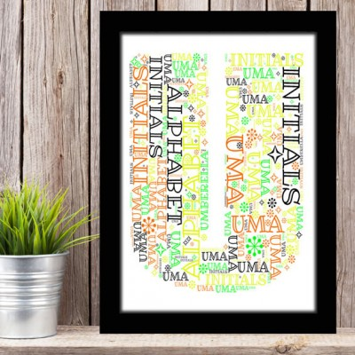 Alphabet Letter U Personalised WordArt Gift