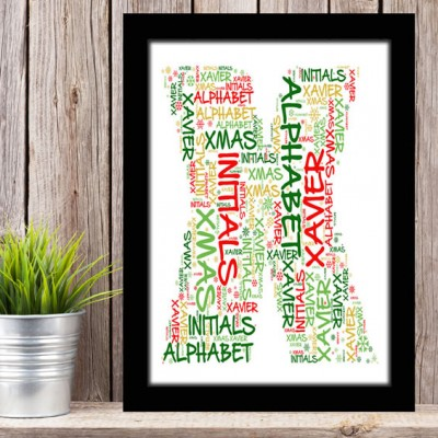 Alphabet Letter X Personalised WordArt Gift