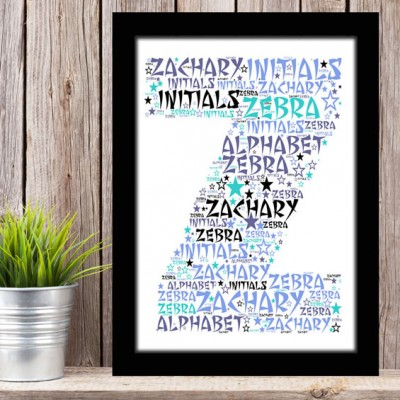 Alphabet Letter Z Personalised WordArt Gift