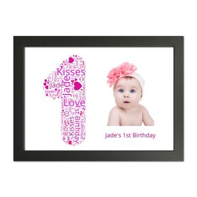 Personalised 1st Birthday Gift WordArt Print
