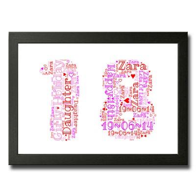 Personalised 18 WordArt Print