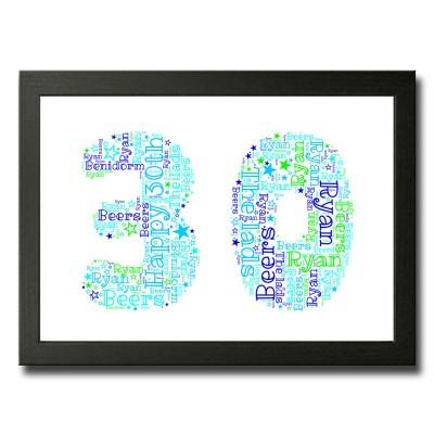 Personalised 30 WordArt Print