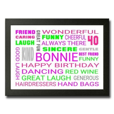 Personalised Wordart 40th Birthday Gift