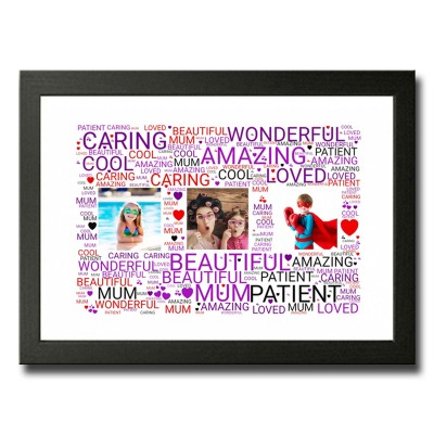 Landscaped Rectangle Shaped Word Art With 3 Photos