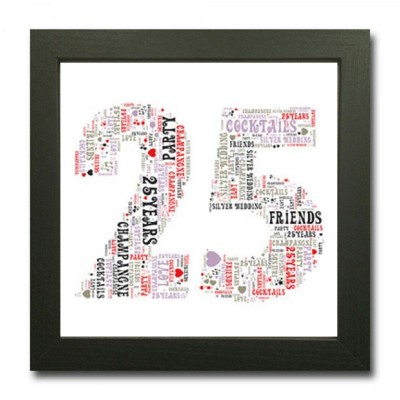 25 Silver Wedding Anniversary WordArt