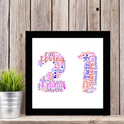 Square Framed 21 Personalised WordArt Picture