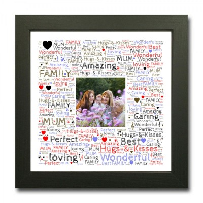 Personalised Word Art Square With Photo