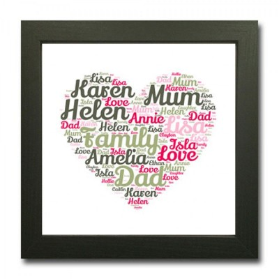 Square Heart Shaped WordArt Print