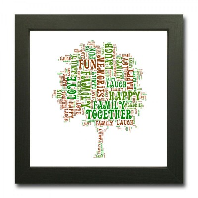 Square Word Art Family Tree