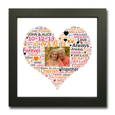 Personalised Word Art Square Heart With Photo