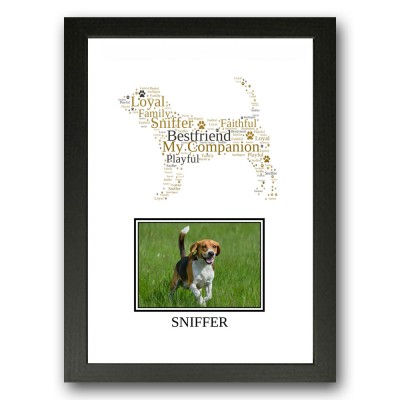 Personalised Beagle Dog Word Art Gift Print
