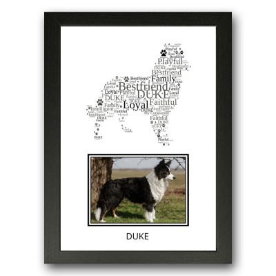 Personalised Border Collie Dog Word Art Gifts