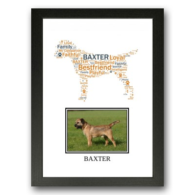 Personalised Border Terrier Dog Word Art Gift Print