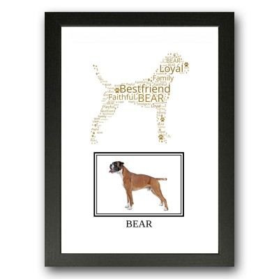 Personalised Boxer Dog Word Art Gift Print